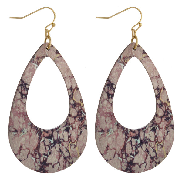 "Wood teardrop earrings featuring a fire quartz stone inspired pattern. Measure approximately 2.5"" in length."