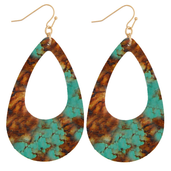 Wholesale wood teardrop earrings turquoise brown stone inspired pattern Measure
