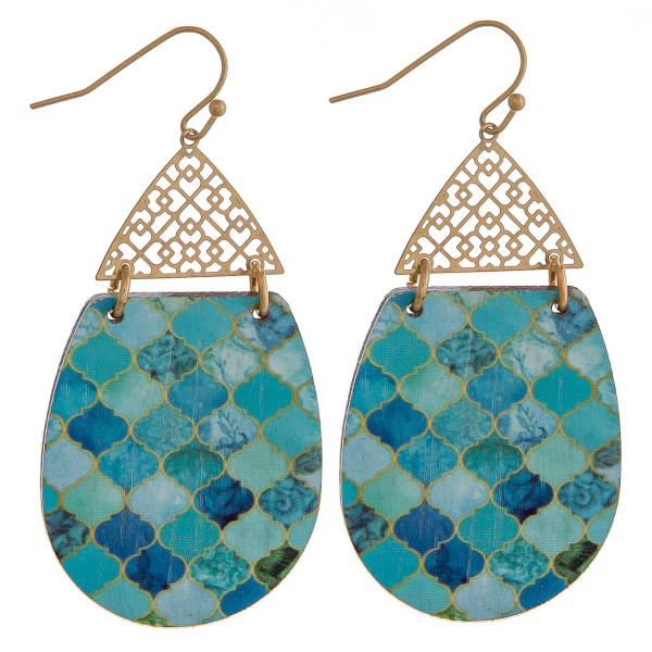 Wholesale wood inspired teardrop earrings detailed pattern filigree accent