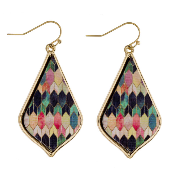 """Long wooden drop earrings featuring a multicolor inspired pattern. Approximately 2"""" in length."""