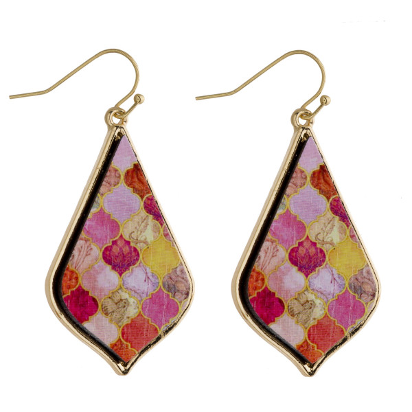 """Long wooden drop earrings featuring a peach lotus flower inspired pattern. Approximately 2"""" in length."""