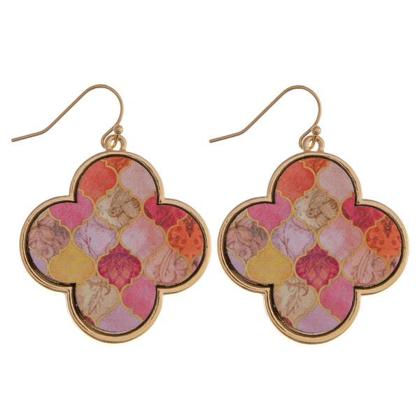 "Wood quatrefoil drop earrings featuring a peach pattern. Approximately 1.5"" in length."