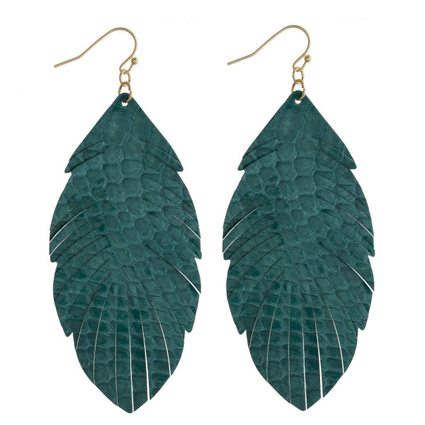 """Faux leather feather inspired drop earrings featuring green alligator skin. Approximately 3"""" in length."""