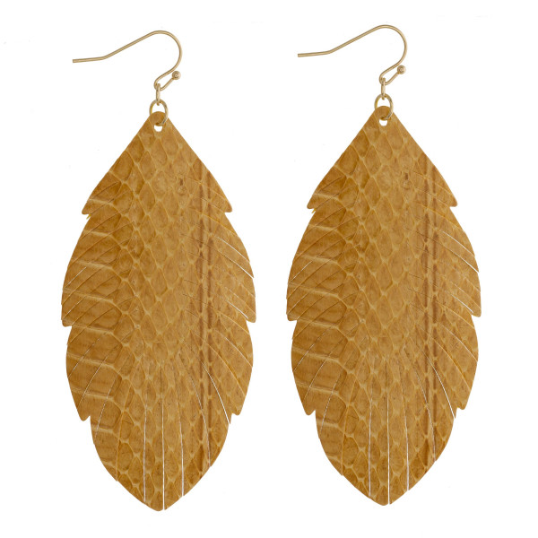 """Faux leather feather inspired drop earrings featuring yellow alligator skin. Approximately 3"""" in length."""