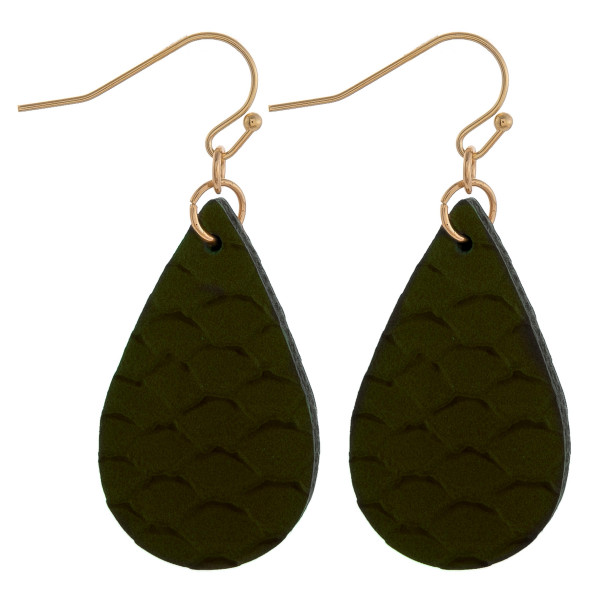 "Teardrop earrings featuring dark olive fish scale pattern. Measure approximately 1"" in length."