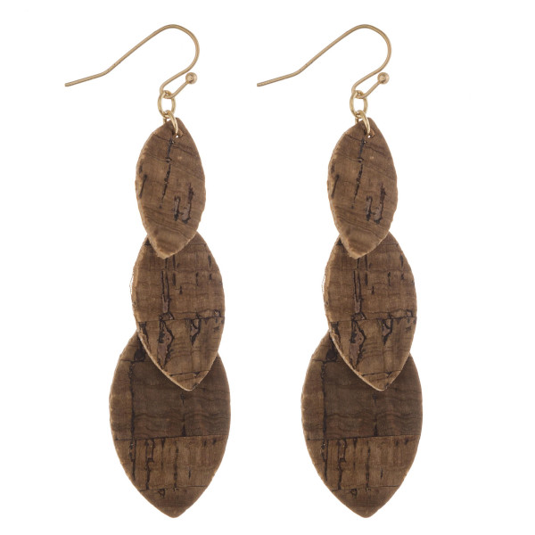 """Trio layered pointed oval drop earrings with cork inspired details. Approximately 3"""" in length."""