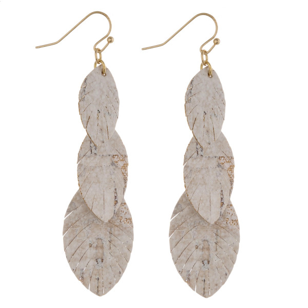 """Trio faux leather feather inspired drop earrings featuring cork-like details. Approximately 3"""" in length."""