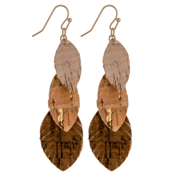 Wholesale cork inspired earrings trio feather accents