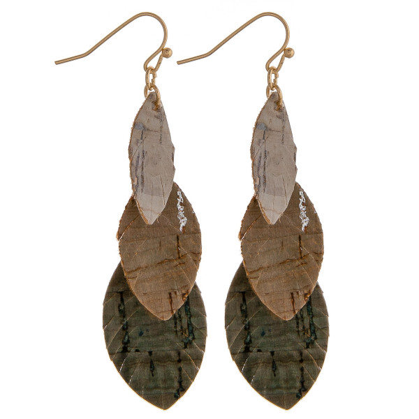 """Trio layered feather drop earrings with cork inspired details. Approximately 2.5"""" in length."""