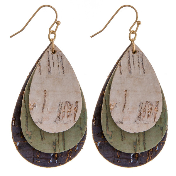 """Trio layered cork inspired teardrop earrings. Approximately 2"""" in length."""