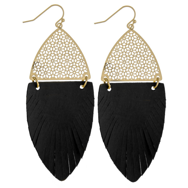 "Long drop earrings featuring black feather-shaped fabric and gold metal accents. Approximately 3"" in length."