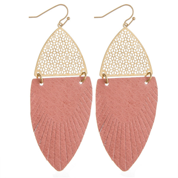 "Long drop earrings featuring light pink feather-shaped fabric and gold metal accents. Approximately 3"" in length."