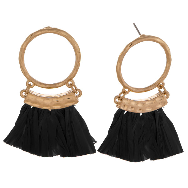 Wholesale circular drop earrings black tassels gold accents