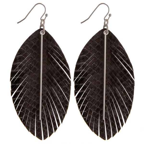 Wholesale faux leather snakeskin feather dangle earrings gold bar accent