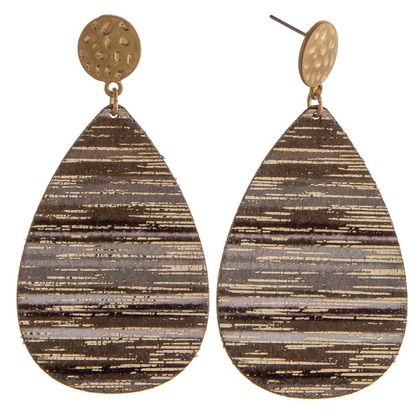 """Grey multicolor genuine leather teardrop earrings featuring gold metallic accents with a stud post. Approximately 2.5"""" in length."""