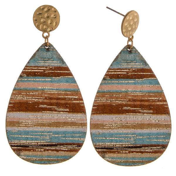 """Light blue multicolor genuine leather teardrop earrings featuring gold metallic accents with a stud post. Approximately 2.5"""" in length."""