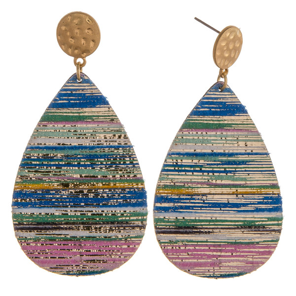 """Blue multicolor genuine leather teardrop earrings featuring gold metallic accents with a stud post. Approximately 2.5"""" in length."""