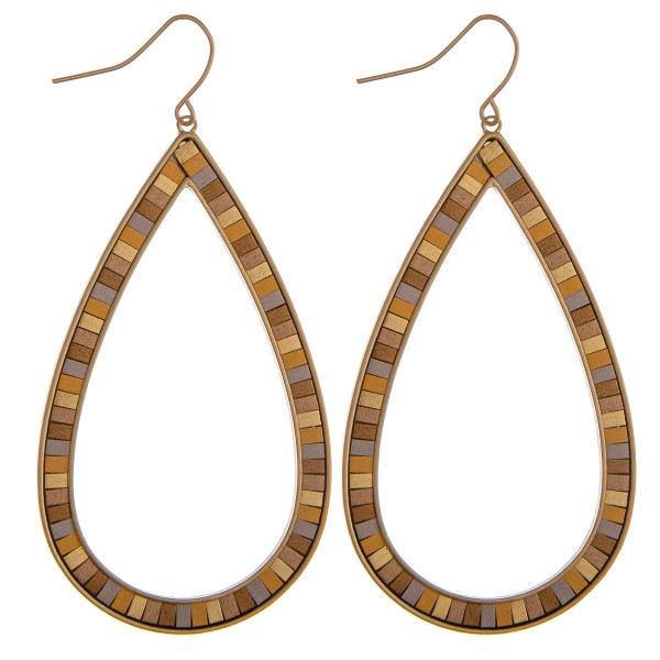 """Large teardrop earrings featuring resin details. Approximately 2.5"""" in length."""