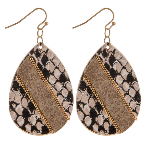 """Metal plated teardrop earrings featuring faux leather snakeskin with a raised faux leather center detail and gold chain inspired accents. Approximately 2"""" in length."""