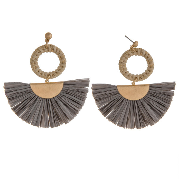 Wholesale raffia tassel earrings rattan woven circular accent stud post