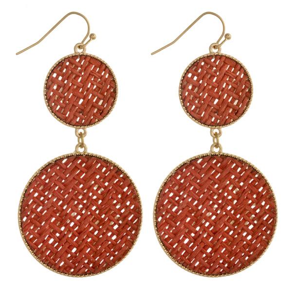 "Rattan woven double disc drop earrings. Approximately 2.5"" in length."