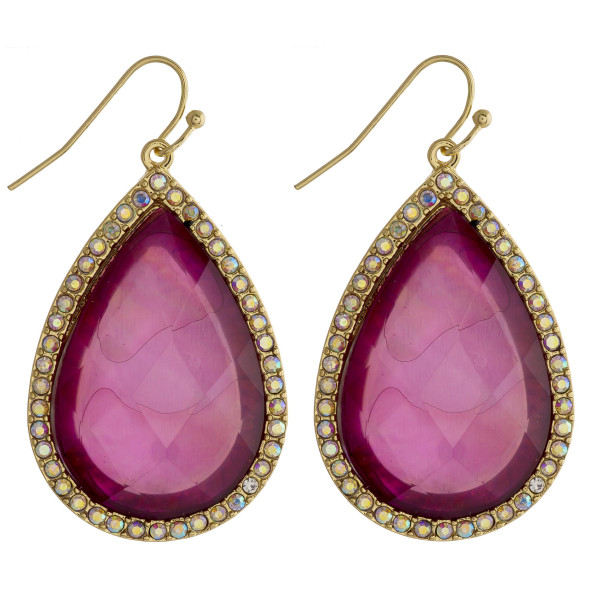 "Teardrop earrings featuring a purple natural stone and rhinestone details. Approximately 1.5"" in length."