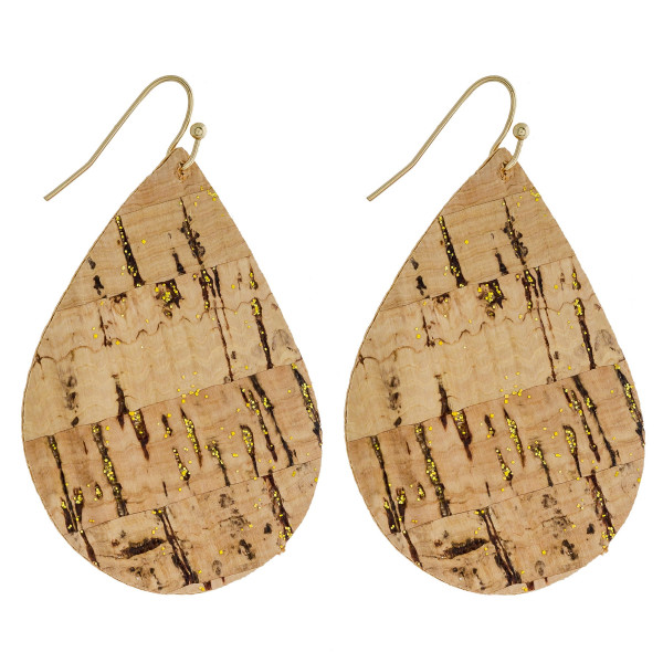 "Faux leather teardrop earrings featuring cork inspired details. Approximately 2"" in length."