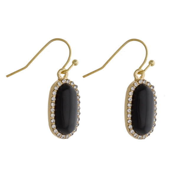"Drop earrings featuring a black natural stone and cubic zirconia details. Approximately .5"" in length."