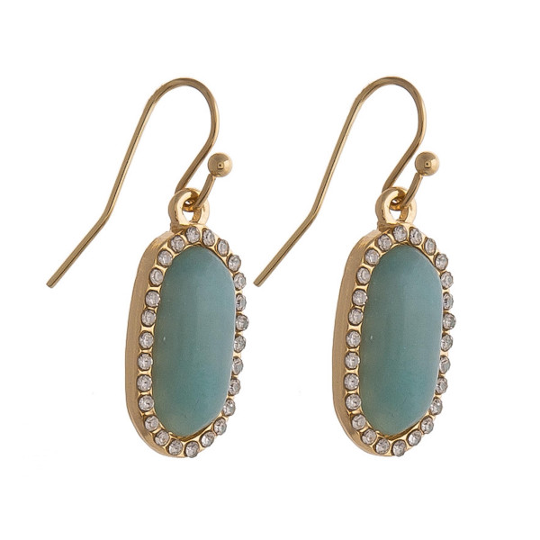 "Drop earrings featuring a mint natural stone and cubic zirconia details. Approximately .5"" in length."