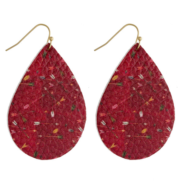 """Faux leather teardrop earrings featuring a western inspired print. Approximately 2"""" in length."""