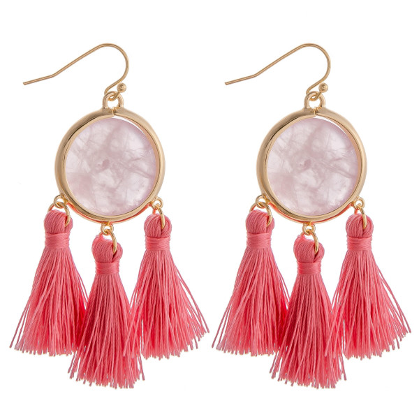 "Natural stone inspired earrings featuring tassel accents. Approximately 2"" in length."