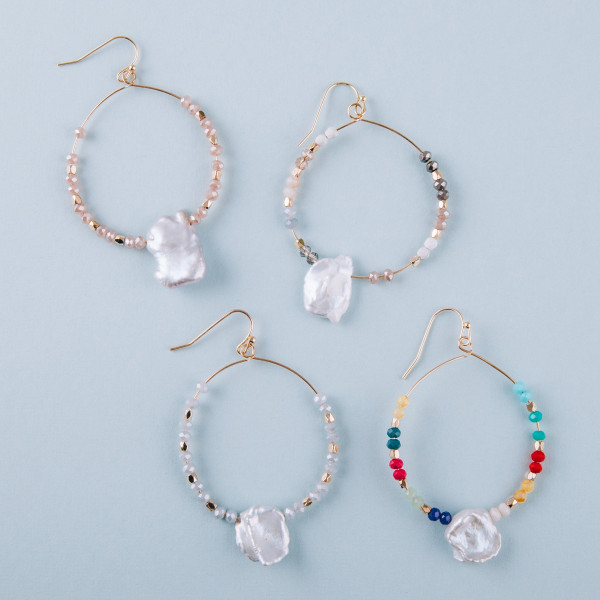 "Long baroque pearl circular earrings featuring multicolored beads. Measures approximately 2"" long."