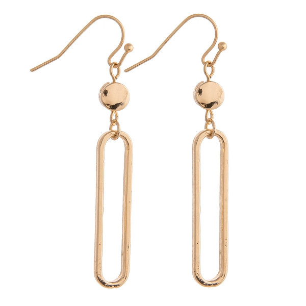 """Gold oblong earrings featuring gold metal accents. Approximately 1.5"""" in length."""
