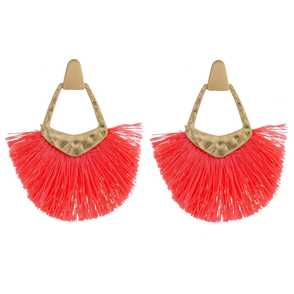"""Gold metal earrings featuring neon tassel accents and a stud post. Approximately 2"""" in length."""