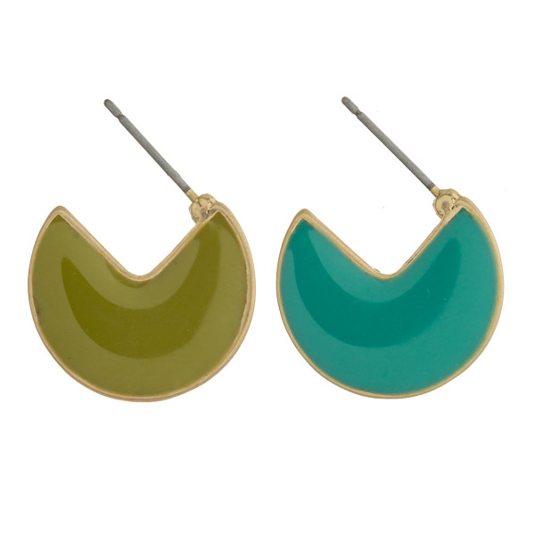"""Open hoop metal earrings featuring double sided acrylic colored accents and a stud post. Approximately .75"""" in diameter."""