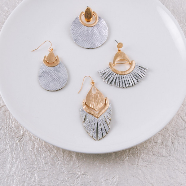 """Faux leather teardrop inspired earrings featuring metallic snakeskin details and gold metal accents. Approximately 1.5"""" in length."""