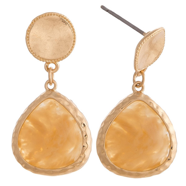 """Natural stone inspired earrings featuring gold metal accents and a stud post. Approximately 1"""" in length."""