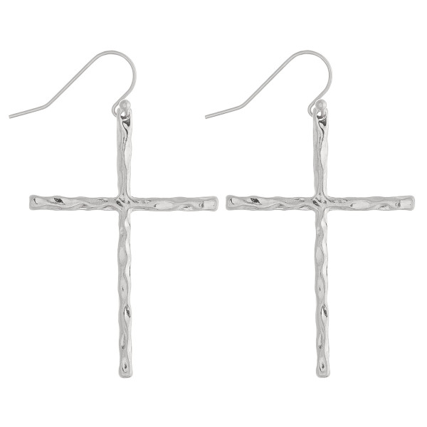 "Silver cross earrings featuring a wavy textured. Approximately 2"" in length."