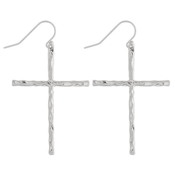 Wholesale silver cross earrings wavy textured