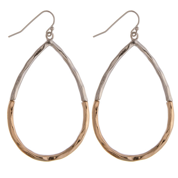 """Two tone teardrop earrings featuring a wavy texture. Approximately 1.5"""" in diameter."""
