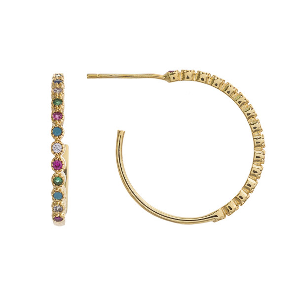 "Dainty open hoop earrings featuring multicolor cubic zirconia details. Approximately 1"" in diameter."