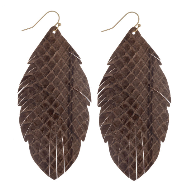 """Long feather inspired genuine leather earrings featuring alligator skin. Approximately 3.5"""" in length."""