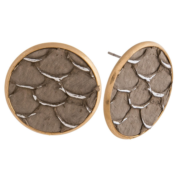 "Genuine leather stud earrings featuring mermaid scale inspired details. Approximately 1"" in diameter."