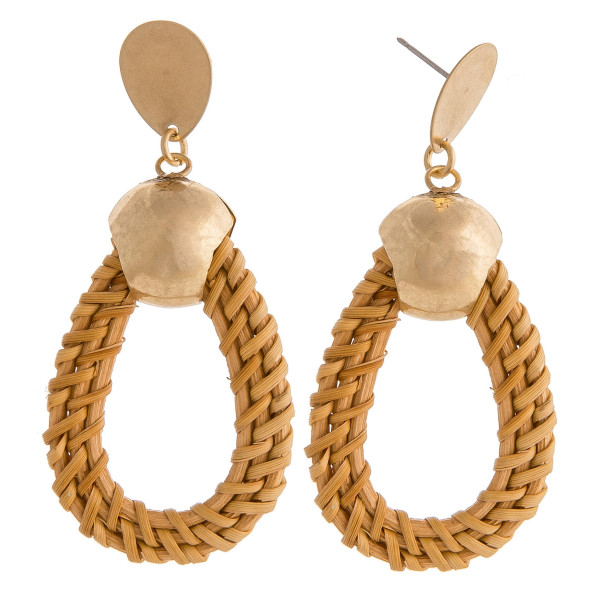 "Rattan woven teardrop earrings featuring gold metal accents and a stud post. Approximately 2.5"" in length."
