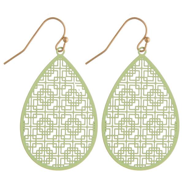 "Long filigree inspired teardrop earrings. Approximately 1.5"" in length."