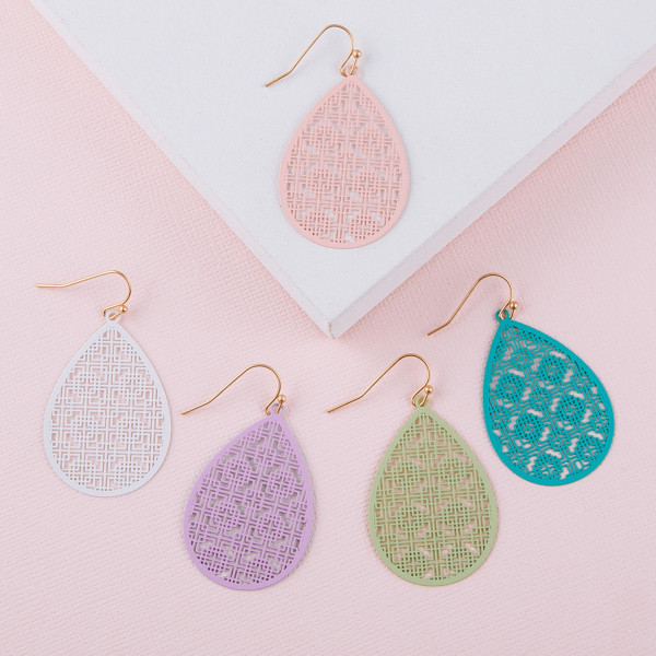"Long filigree inspired teardrop earrings. Approximately 1.5"" in length."
