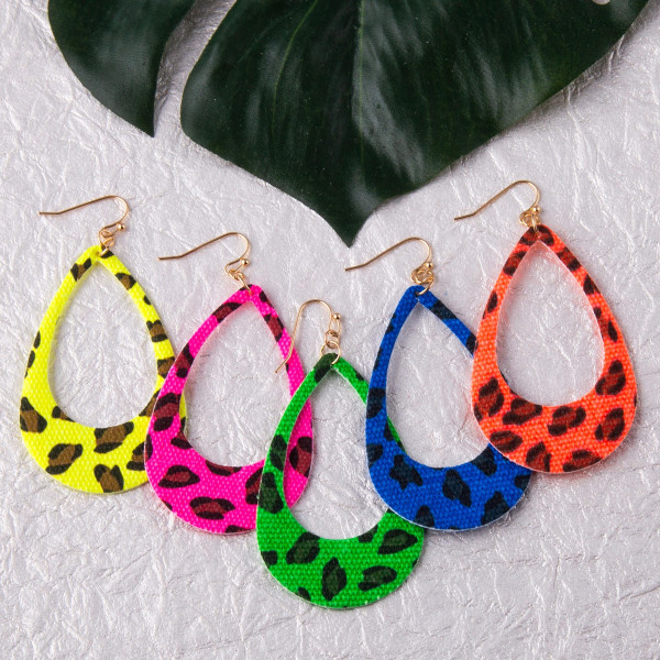 """Neon fabric made teardrop earrings featuring animal print details. Approximately 2.5"""" in length."""