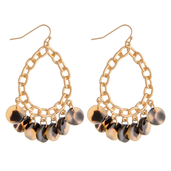 """Metal chain link inspired teardrop earrings featuring resin disc accents. Approximately 2"""" in length."""