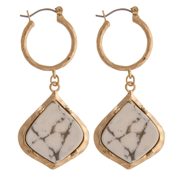 "Tiny hoop drop earrings featuring a natural stone accent. Approximately 2"" in length."