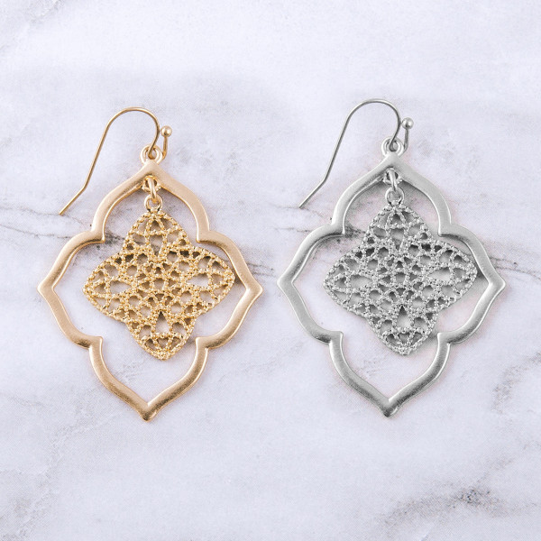 "Double lotus inspired drop earrings. Approximately 2"" in length."